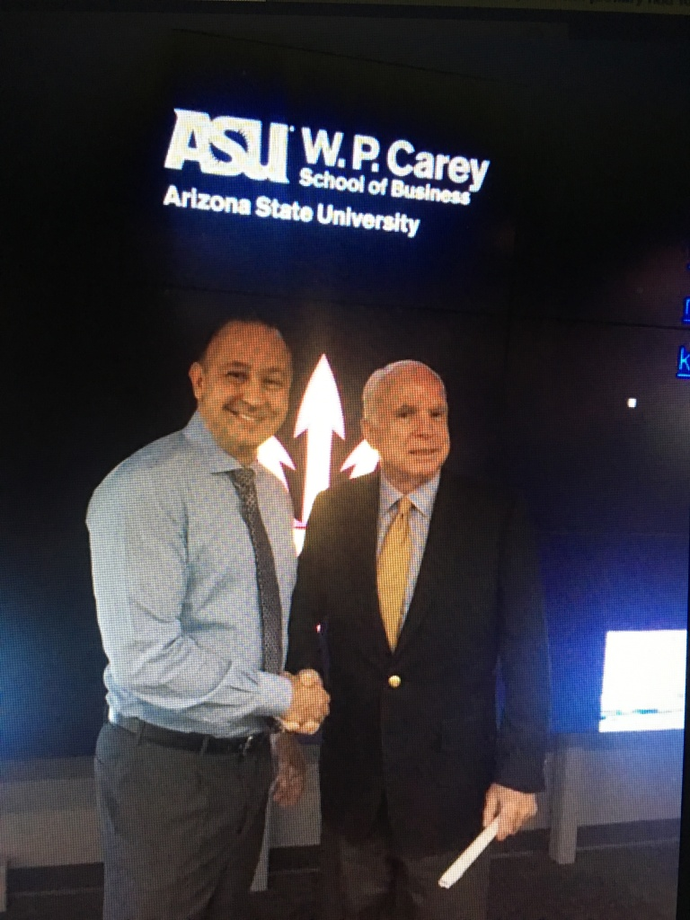 Alex Popovic and Senator John McCain one year before his tragic passing.  At ASU W.P. Carey School of Business discussing Commerical Real Estate